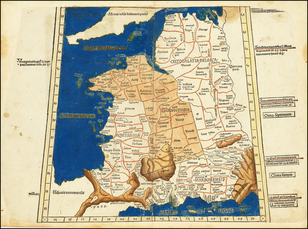 51-France Map By Claudius Ptolemy / Lienhart Holle