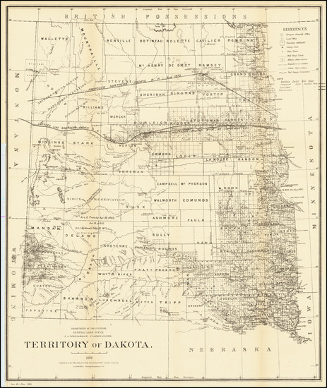 95-North Dakota and South Dakota Map By General Land Office
