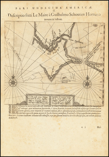 27-Polar Maps, Argentina and Chile Map By Theodor De Bry