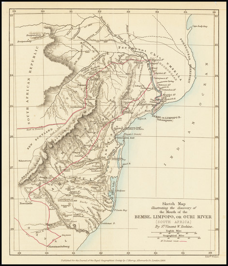 21-South Africa Map By Royal Geographical Journal