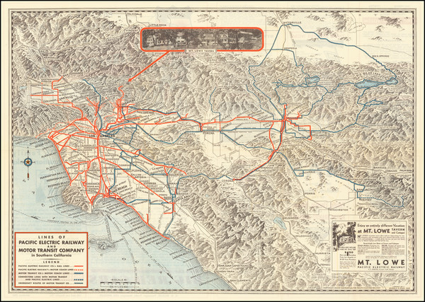 62-California and Los Angeles Map By Pacific Electric Railway / Gerald A. Eddy