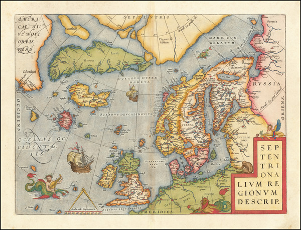 27-Atlantic Ocean, British Isles, Scandinavia and Balearic Islands Map By Abraham Ortelius