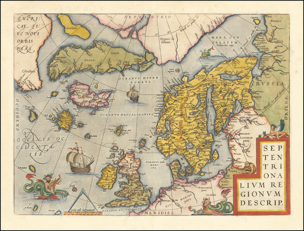 81-Atlantic Ocean, British Isles, Scandinavia and Balearic Islands Map By Abraham Ortelius