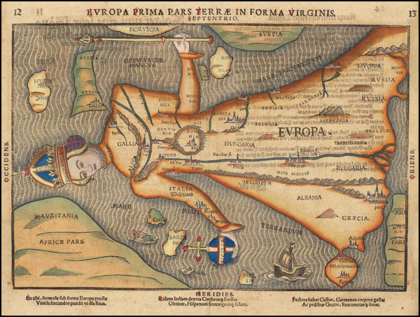 86-Europe and Comic & Anthropomorphic Map By Heinrich Bunting
