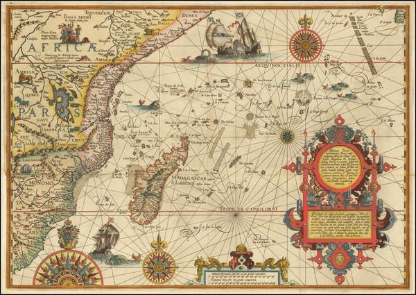 74-Indian Ocean, South Africa and East Africa Map By Jan Huygen Van Linschoten