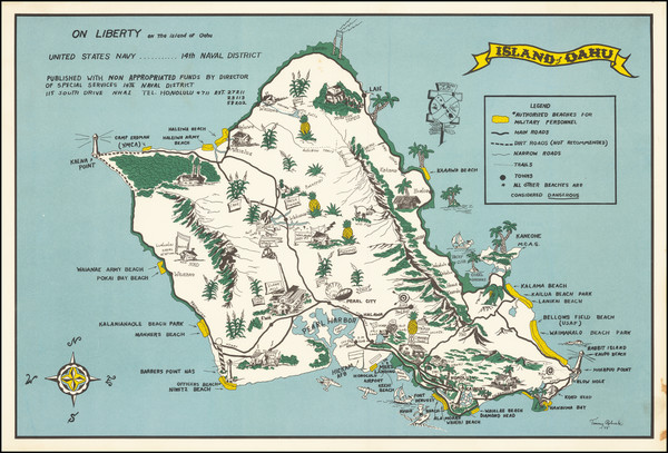 92-Hawaii, Hawaii and Pictorial Maps Map By Tommy Robuck