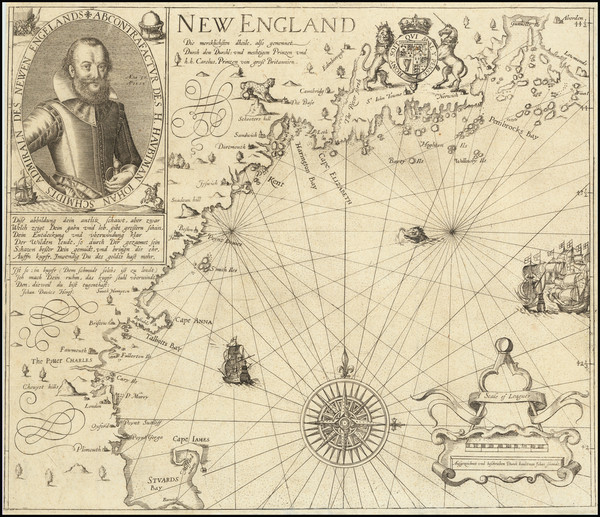 28-New England and Canada Map By John Smith / Levinus Hulsius