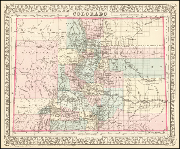 38-Colorado and Colorado Map By Samuel Augustus Mitchell Jr.