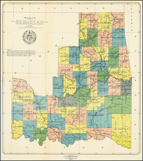 99-Oklahoma & Indian Territory Map By D.W. Bolich