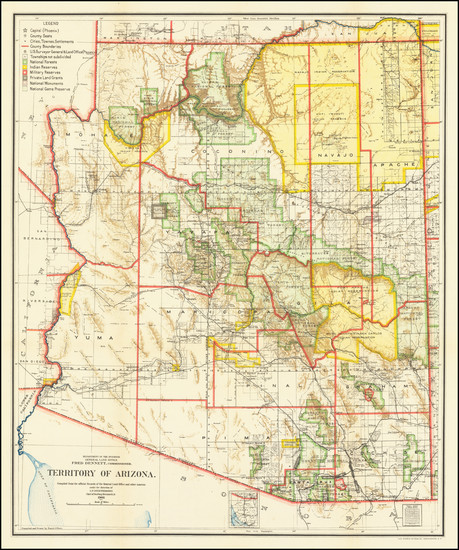 89-Arizona Map By General Land Office