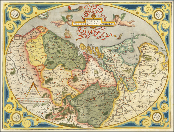 55-Netherlands and Luxembourg Map By Abraham Ortelius
