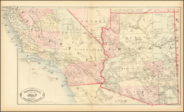 29-Arizona and California Map By HS Stebbins