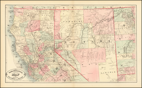 61-Nevada and California Map By HS Stebbins