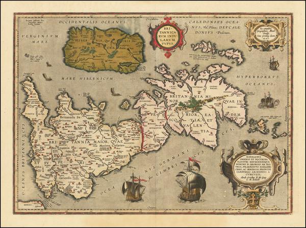 28-British Isles Map By Abraham Ortelius