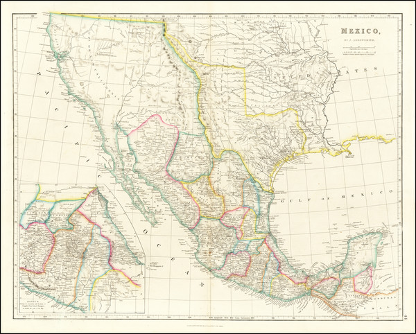 43-Texas, Southwest, Rocky Mountains, Mexico and California Map By John Arrowsmith