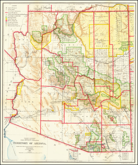 53-Arizona Map By General Land Office
