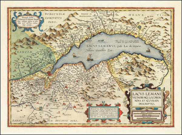 22-Switzerland and France Map By Abraham Ortelius