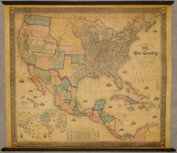 34-United States Map By Alvin Jewett Johnson  &  Samuel Gaston
