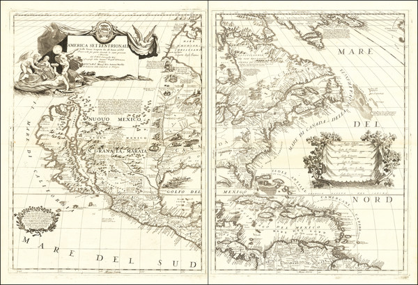 77-United States, North America and California as an Island Map By Vincenzo Maria Coronelli