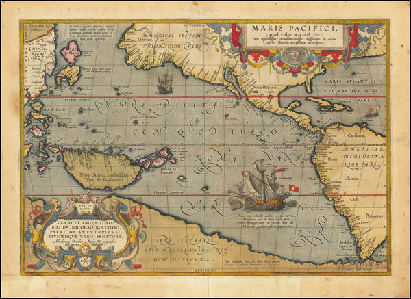 96-Western Hemisphere, Polar Maps, Japan, Pacific, Australia and America Map By Abraham Ortelius
