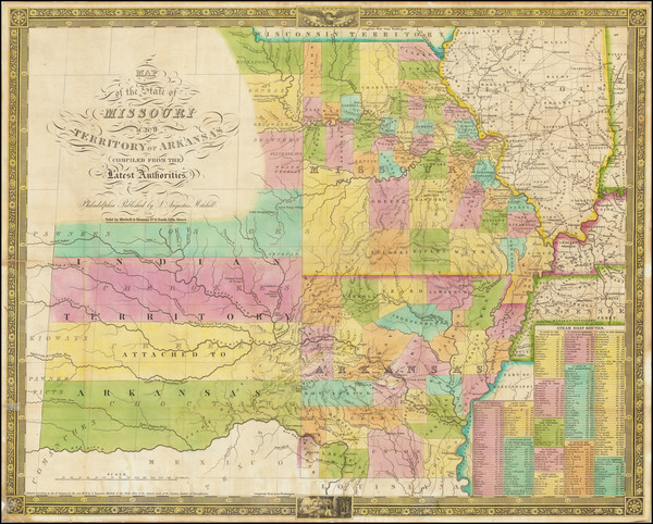 34-South, Arkansas, Plains, Kansas, Missouri and Oklahoma & Indian Territory Map By Samuel Aug