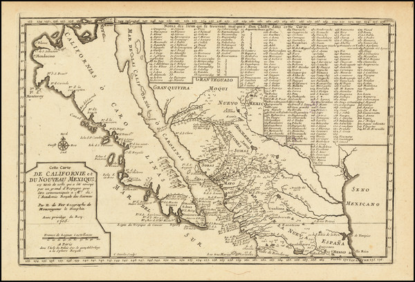 67-Baja California, California and California as an Island Map By Nicolas de Fer