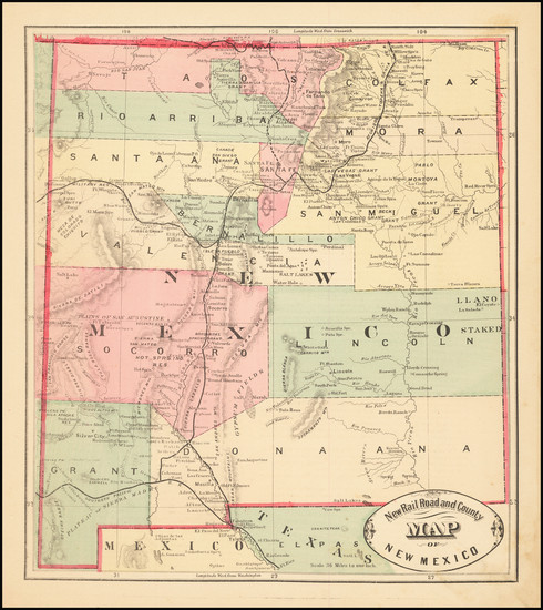 52-New Mexico Map By HS Stebbins