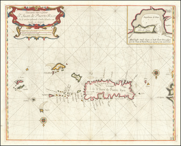 71-Cuba, Puerto Rico, Virgin Islands and Other Islands Map By Arent Roggeveen / Jacobus Robijn