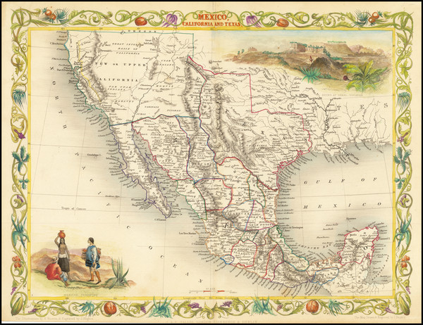 66-Texas, Southwest, Rocky Mountains, Mexico and California Map By John Tallis