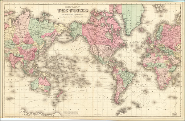 2-World Map By Joseph Hutchins Colton