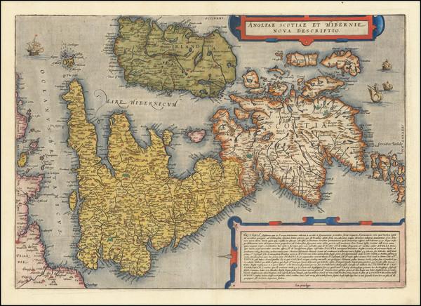 85-British Isles Map By Cornelis de Jode / Gerard de Jode