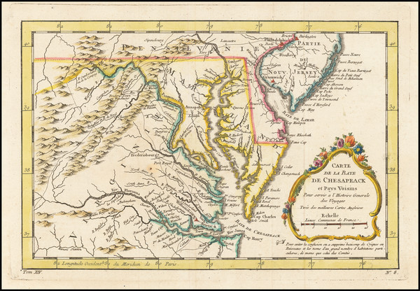 40-New Jersey, Maryland, Delaware and Virginia Map By Jacques Nicolas Bellin