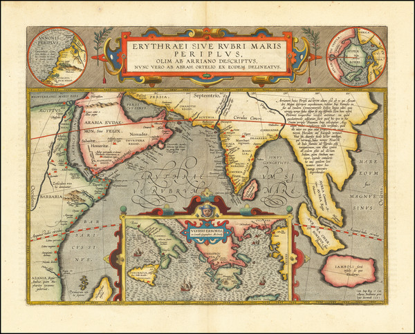 91-Polar Maps, Indian Ocean, Greece, India, Southeast Asia and Middle East Map By Abraham Ortelius