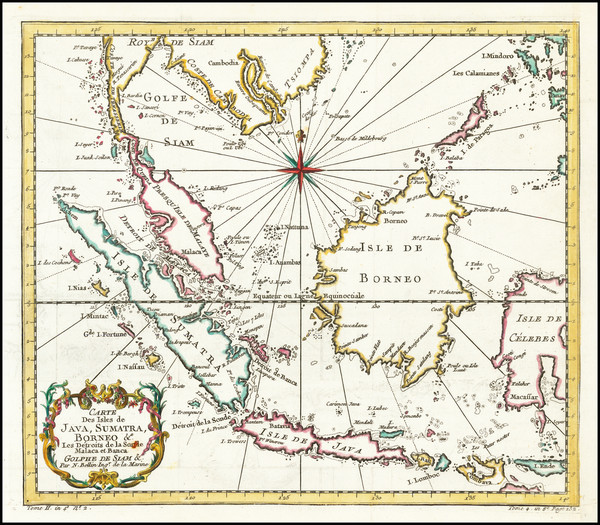 89-Southeast Asia, Indonesia and Malaysia Map By Jacques Nicolas Bellin
