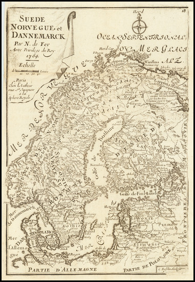 17-Scandinavia Map By Nicolas de Fer