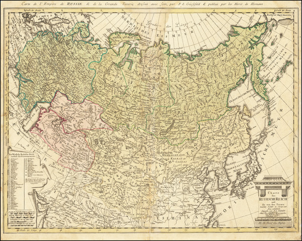 90-Russia, China, Central Asia & Caucasus and Russia in Asia Map By Franz Ludwig Gussefeld