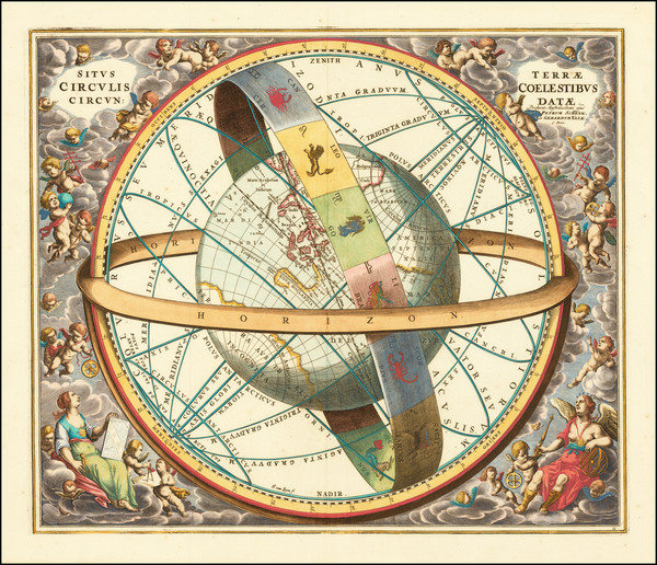 11-Pacific, Australia, California and Celestial Maps Map By Andreas Cellarius