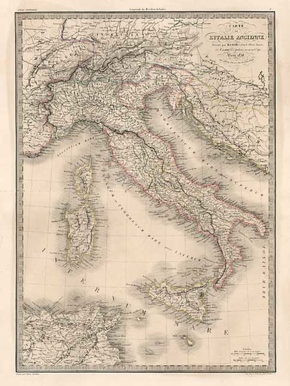85-Europe, Italy and Balearic Islands Map By Alexandre Emile Lapie