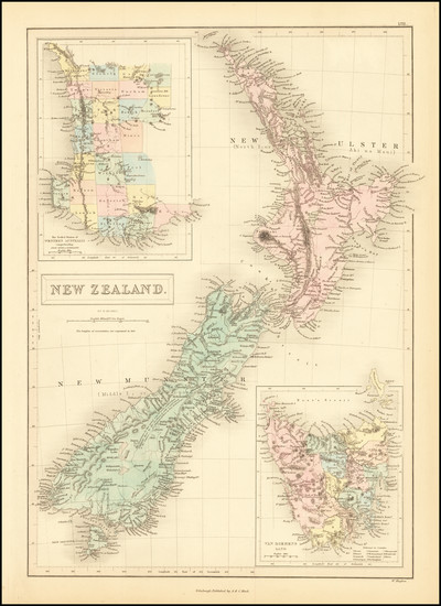 13-Australia and New Zealand Map By Adam & Charles Black