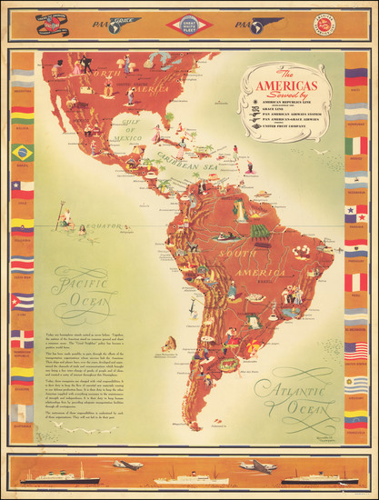 6-South America, Pictorial Maps and America Map By Kenneth W. Thompson