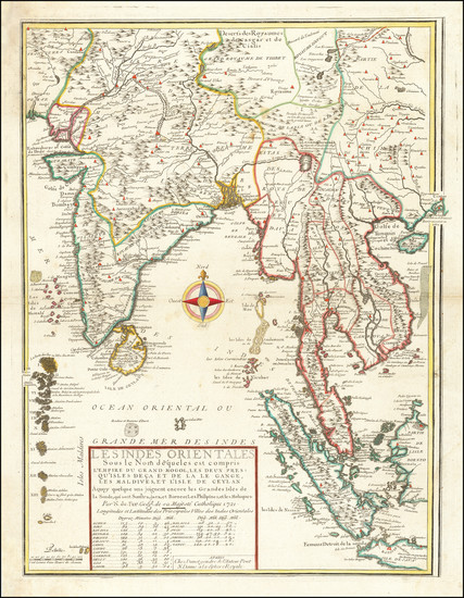 92-India, Southeast Asia, Singapore, Malaysia and Thailand, Cambodia, Vietnam Map By Nicolas de Fe