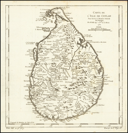 73-Sri Lanka Map By Jacques Nicolas Bellin