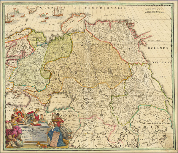 78-Russia, India, Central Asia & Caucasus and Russia in Asia Map By Johann Baptist Homann