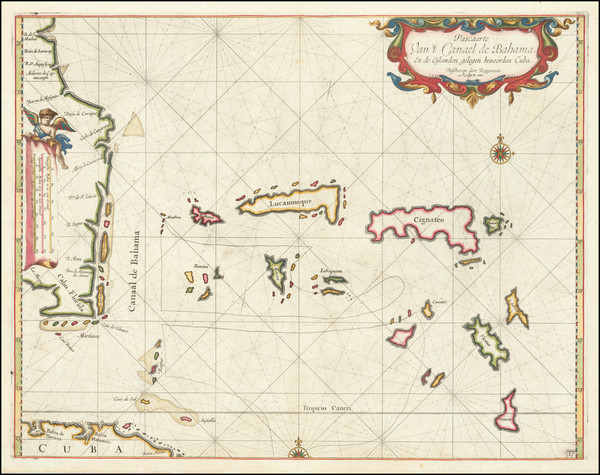 85-Florida and Bahamas Map By Arent Roggeveen / Jacobus Robijn