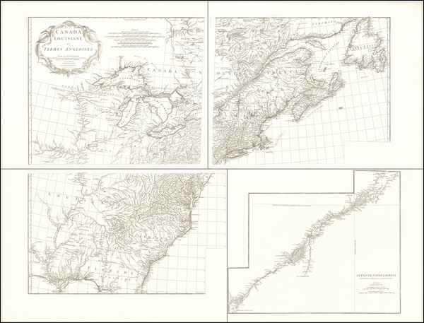 55-United States, North America, Canada and Eastern Canada Map By Jean-Baptiste Bourguignon d'Anvi