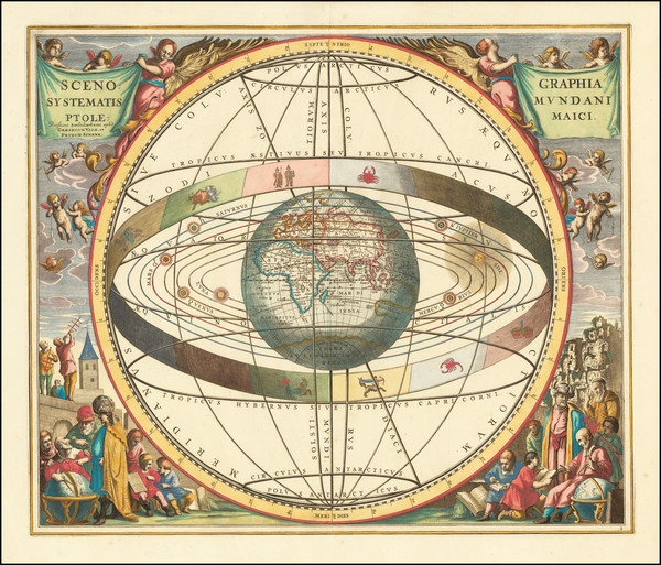 65-Eastern Hemisphere, Indian Ocean and Celestial Maps Map By Andreas Cellarius / Gerard & Leo