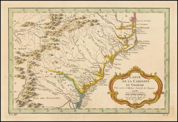 72-Southeast, Georgia, North Carolina and South Carolina Map By Jacques Nicolas Bellin
