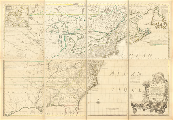 0-United States, North America and Canada Map By John Mitchell / Georges Louis Le Rouge
