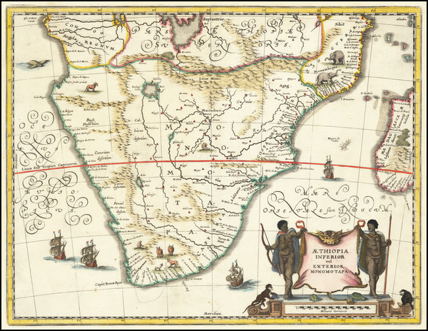 57-South Africa, East Africa and African Islands, including Madagascar Map By Matthaus Merian