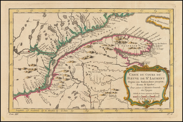 4-Canada and Eastern Canada Map By Jacques Nicolas Bellin